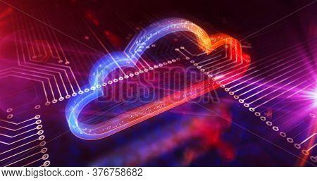Digital Computing Cloud Symbol. Cyber Technology, Internet Data Storage, Database And Mobile Server