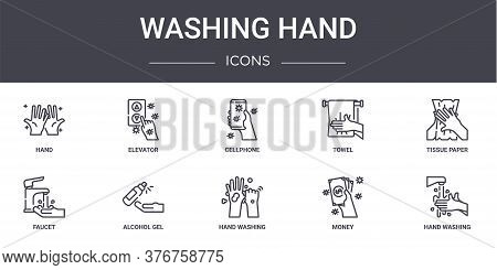 Washing Hand Concept Line Icons Set. Contains Icons Usable For Web, Logo, Ui Ux Such As Elevator, To