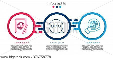 Set Line Mail And E-mail, Speech Bubble Chat And Mail And E-mail In Hand. Business Infographic Templ