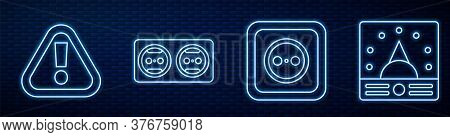 Set Line Electrical Outlet, Exclamation Mark In Triangle, Electrical Outlet And Ampere Meter, Multim