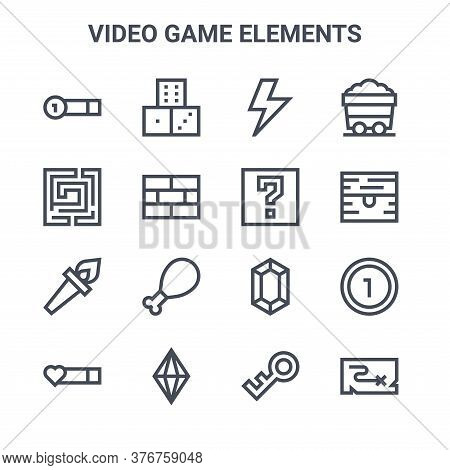 Set Of 16 Video Game Elements Concept Vector Line Icons. 64x64 Thin Stroke Icons Such As Dice, Labyr