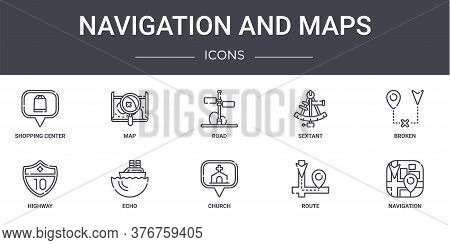 Navigation And Maps Concept Line Icons Set. Contains Icons Usable For Web, Logo, Ui Ux Such As Map,