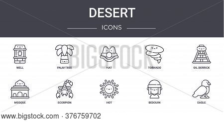 Desert Concept Line Icons Set. Contains Icons Usable For Web, Logo, Ui Ux Such As Palm Tree, Tornado