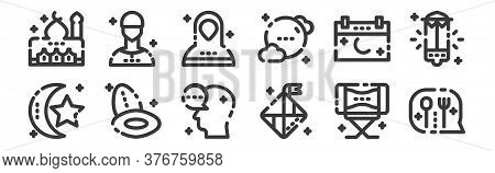 12 Set Of Linear Ramadan Kareem Icons. Thin Outline Icons Such As Fork, Diamonds, Palm, Date, Muslim