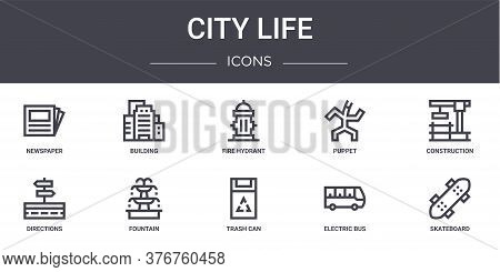 City Life Concept Line Icons Set. Contains Icons Usable For Web, Logo, Ui Ux Such As Building, Puppe