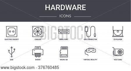 Hardware Concept Line Icons Set. Contains Icons Usable For Web, Logo, Ui Ux Such As Cooler, Usb Conn