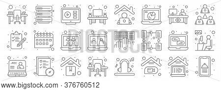 Home Line Icons. Linear Set. Quality Vector Line Set Such As Food App, Video Call, Office Desk, Reco