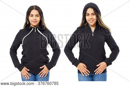 Woman In Black Hoodie Hoody Set Front View, Hoody Mockup Isolated On White Background. Girl Puts On
