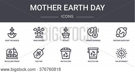 Mother Earth Day Concept Line Icons Set. Contains Icons Usable For Web, Logo, Ui Ux Such As Wind Ene
