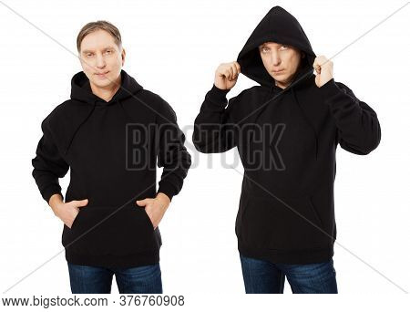 Man In Black Hoodie Hoody Set Front View, Hoody Mockup Isolated On White Background. Man Puts On A H