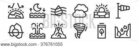 12 Set Of Linear Climate Change Icons. Thin Outline Icons Such As Landslide, Tornado, Eruption, Drou