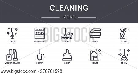 Cleaning Concept Line Icons Set. Contains Icons Usable For Web, Logo, Ui Ux Such As Dishwasher, Brus