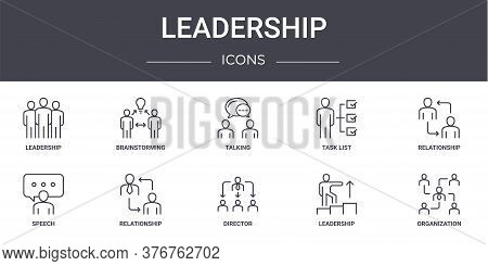 Leadership Concept Line Icons Set. Contains Icons Usable For Web, Logo, Ui Ux Such As Brainstorming,