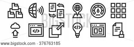 Set Of 12 Thin Outline Icons Such As Document, Invention, Code, Optimization, Flies, Earth Globe For