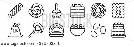 Set Of 12 Thin Outline Icons Such As Birthday Cake, Candies, Lollipop, Donut, Caramelized Apple, Cin