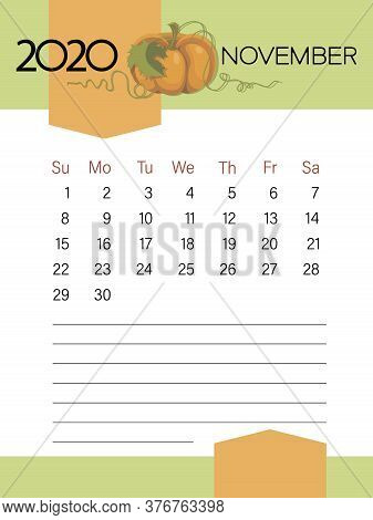November 2020. Calendar Template. Pumpkin Vegetables. Page. Planner Diary In A Minimalist Style.