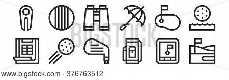 Set Of 12 Thin Outline Icons Such As Golf Course, Golf Bag, Golf Ball, , Binoculars, Ball For Web, M