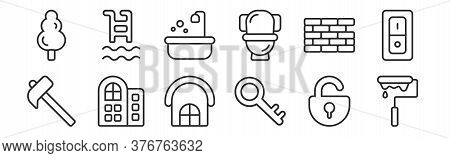 Set Of 12 Thin Outline Icons Such As Paint Roller, Key, Hotels, Brickwall, Bathroom, Swimming Pool F