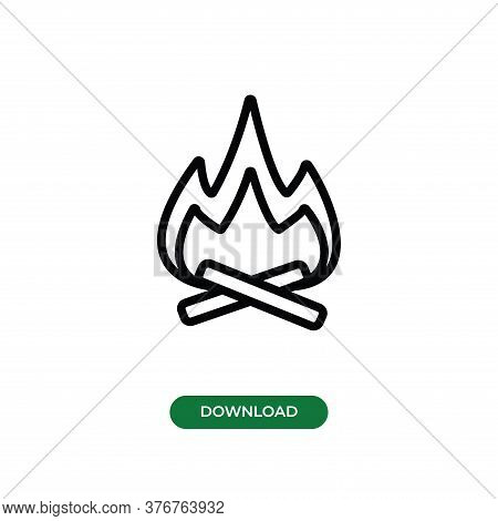 Vector Icon Of  Bonfire. Camping Bonfire Vector  Icon, Sign , Symbol And Illustration. Vector Logo F
