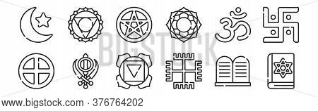 Set Of 12 Thin Outline Icons Such As Jewish, Paganism, Sikhism, Hinduism, Wicca, Visuddha For Web, M