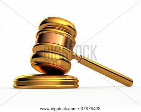 Golden Gavel Isolated