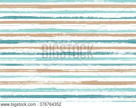 Stripes Watercolor Paintbrush Seamless Vector Pattern. Curtains Old Style Pattern. Distressed Waterc