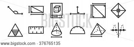 Set Of 12 Thin Outline Icons Such As Curve, Ruler, Ruler, Square, Book, Rectangular For Web, Mobile
