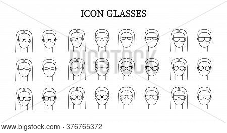 Set With Vector Icons Illustrating People In Glasses. Art сan Be Used As Logo For Glasses Store.