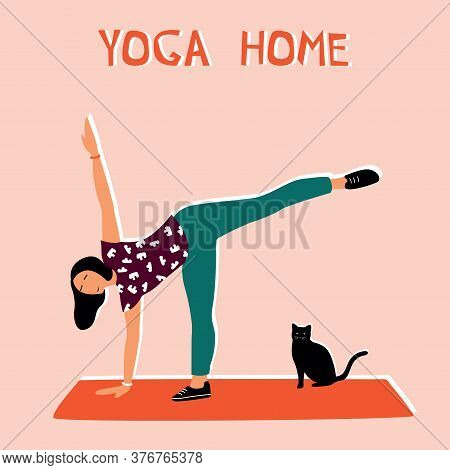 Woman Doing Yoga At Home. Illustration With Half Moon Pose, Ardhachandrasana.
