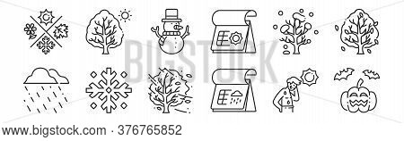 Set Of 12 Thin Outline Icons Such As Halloween, Rainy Day, Snowflake, Winter Tree, Snowman, Tree For
