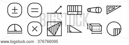Set Of 12 Thin Outline Icons Such As Circle, Triangle, Multiplication, Diameter, Acute Angle, Equal