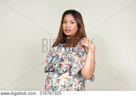Portrait Of Young Beautiful Overweight Asian Woman