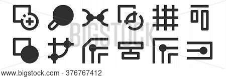 Set Of 12 Thin Outline Icons Such As Node, Align, Node, Grid, Nodes, Search For Web, Mobile