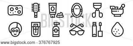 Set Of 12 Thin Outline Icons Such As Sponge, Eyeglasses, Parfum, Eyelashes Curler, Face Cream, Hairb
