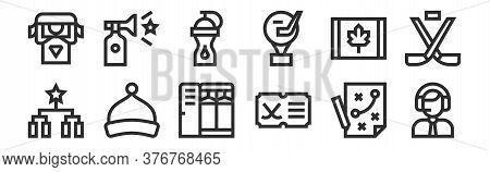 Set Of 12 Thin Outline Icons Such As Sports Announcer, Hockey, Beanie, Canada, Water Bottle, Horn Fo