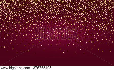 Yellow Shards Festive Red Background. Glamour Rain Design. Gold Shard Abstract Backdrop. Shine Golde
