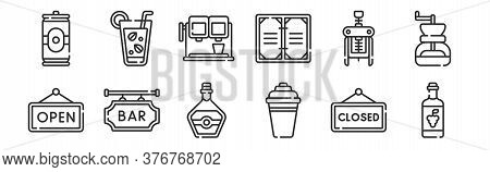 Set Of 12 Thin Outline Icons Such As Wine, Cocktail Shaker, Bar, Corkscrew, Drink, Mojito For Web, M