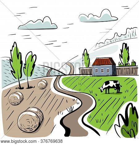 Rural Landscape With House, Hay And Cow. Hand Drawn Rural Landscape.