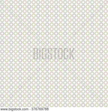 Vector Green Gray Mauve Pink Donut Circles On White Seamless Repeat Pattern. Background For Textiles