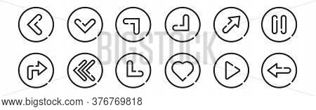 Set Of 12 Thin Outline Icons Such As Left, Love, Left, Top Right, Top Right, Down For Web, Mobile