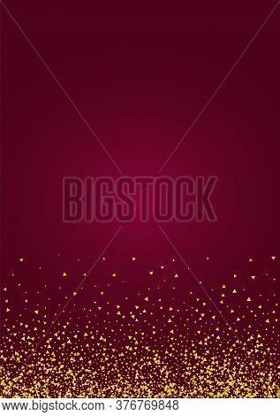 Gold Shine Paper Red Background. Falling Rain Wallpaper. Golden Triangle Modern Design. Shard Bright