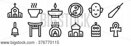 Set Of 12 Thin Outline Icons Such As Ankh, Mosque, Shinto, Buddha, Aromatic Candle, Infusion For Web
