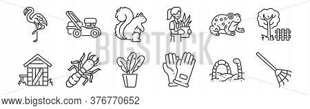 Set Of 12 Thin Outline Icons Such As Rake, Hand Glove, Termite, Toad, Squirrel, Mower For Web, Mobil