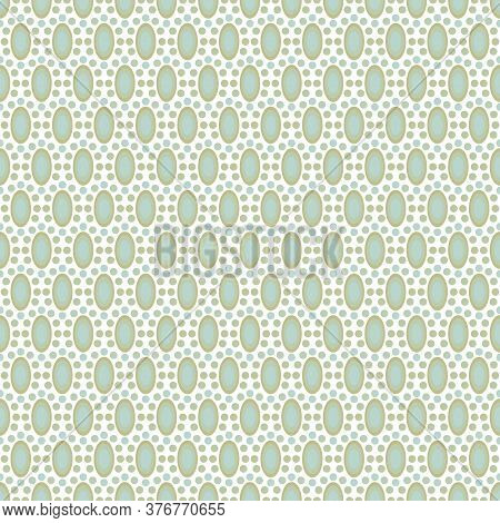 Vector Green Blue Oval And Circles On White Seamless Repeat Pattern. Background For Textiles, Cards,