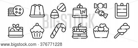 Set Of 12 Thin Outline Icons Such As Marshmallow, Pancake, Cupcake, Candy, Candy Corn, Jelly For Web