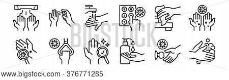 Set Of 12 Thin Outline Icons Such As Cleaning, Cleaning Liquid, Handle, Cleaning Materials, Handwash
