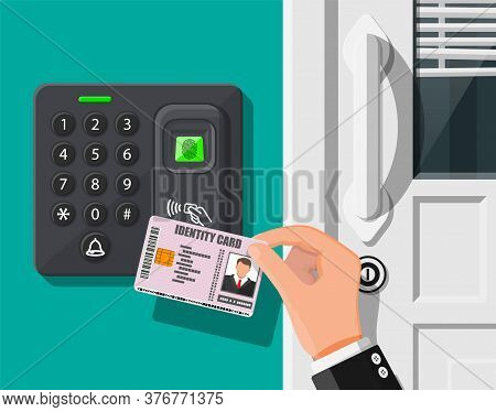 Password And Fingerprint Security Device At Office Or Home Door. Hand With Id Card. Access Control M