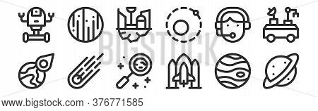 Set Of 12 Thin Outline Icons Such As Saturn, Spaceship, Meteorite, Call Center Agent, Space Colony,