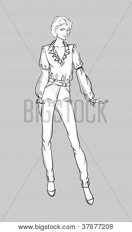 Sketch of girl in jeans and blouse