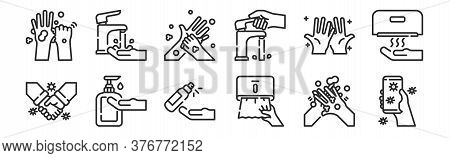 Set Of 12 Thin Outline Icons Such As Cellphone, Tissue Paper, Alcohol Gel, Hand, Hand Washing, Fauce